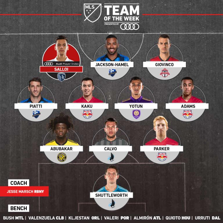 Kaku, Tyler Adams, Tim Parker, Jesse Marsch named to MLS Team of the Week, presented by Audi - https://league-mp7static.mlsdigital.net/images/2018-1x1-Audi-TOTW-Week10.jpg